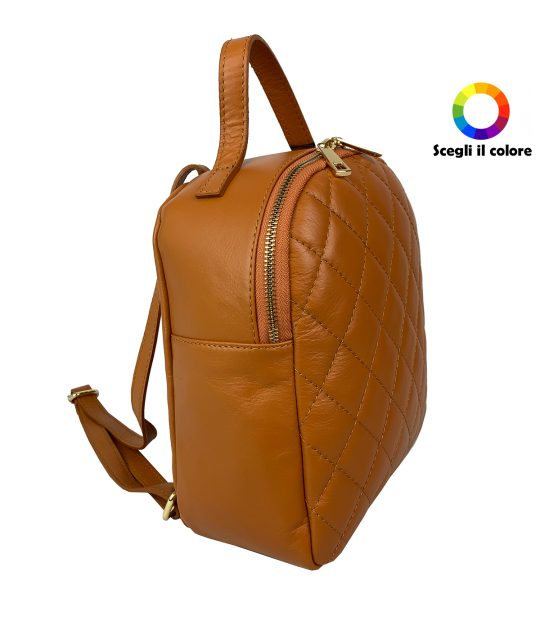 FG Backpack Woman Quilted Brown